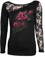 Espiral directo Muerte Rose Manga Larga Encaje shoulder/red rose/skul/gothic / Top