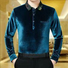 Men Velvet T-Shirt Blouse Tops Long Sleeve Business Pullover Casual Formal