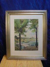 G501/aquarelle H. Becker blanche pont M. arbres