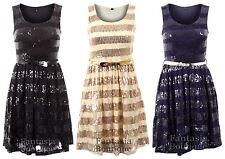 Ladies Sleeveless Belted Striped Sequin Metallic Belt Women's Skater Dress
