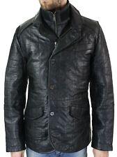 Veste manteau cuir véritable noir blazer matelassé décontracté S-3XL homme