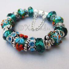Authentic Pandora Bracelet With Ocean Starfish European Teal Murano Glass Beads