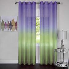 Window Curtain Panel Rainbow Multi-Color Purple Semi-Sheer Light Filtering