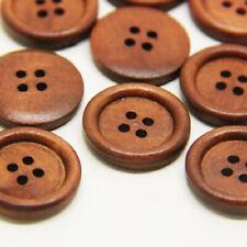 50pcs Bulk Wooden Dark Brown Round Sewing 4 Hole Buttons 1cm/1.5cm/2cm/2.5cm/3cm