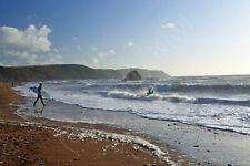 Widemouth Bay Surfing Cornwall Art Photo Canvas (UK)