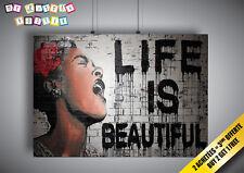 Poster BANKSY STREET ART LIFE IS BEAUTIFUL GRAFFITI Wall Art