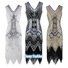 Deluxe Ladies 1920s Roaring 20s Flapper Gatsby Costume Sequins Dress 6-20 AU