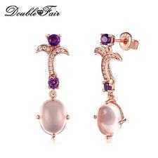 Natural Gemstone Rose Quartz Amethyst 925 Sterling Silver Earrings Women Jewelry