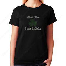 """Womens / Unisex Rhinestone T-shirt """" Kiss Me I'm Irish """" in S, M, L, XL, 2X, 3X"""