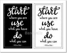 Inspirational Quote Start Where You Art Print Home Decor Wall Art Poster - D