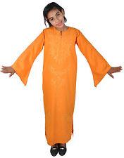 Kinder Kaftan Mädchen Kleid Prinzessin Kostüm orange -gold im 70er Look-KK00143