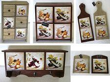 Serie arredo decorativa per cucina in legno e mattonelle decoro zucca