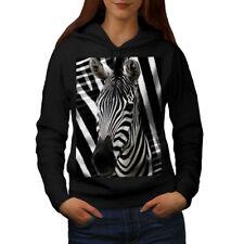 Wellcoda Zebra Face Cute Animal Womens Hoodie, Africa Casual Hooded Sweatshirt