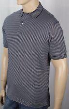 David Chu Lincs Navy Cream Striped Classic Fit Interlock Polo Shirt NWT