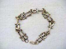 "Egyptian Sterling Silver Single Double Ankh Bracelet 9.5"" Beautiful"
