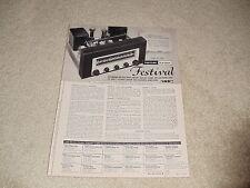 New listing Harman Kardon 1954 Ad, 1 pg,Festival Tuner, Specs, Rare