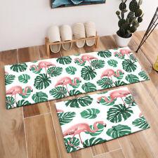 Exotic Tropical Flamingo Monstera Leaves Pattern Area Rugs Living Room Floor Mat
