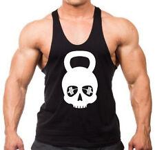 Kettlebell Skull Stringer Tank Top Shirt Muscle Gym Workout Bodybuilding V119