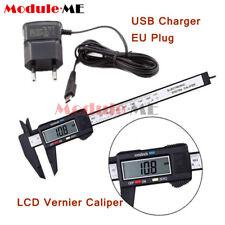 LCD Digital Electronic Carbon Fiber Vernier Caliper+5V Micro USB Plug Charger MO