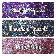 Nail Art Christmas Festival Glitter  Purple Black Pink Stars Hearts Chunky Mix