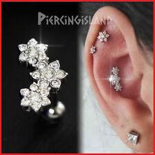 Crystal Flower Ear Climber Ear Cartilage Helix Ring Bar Stud Piercing Earring