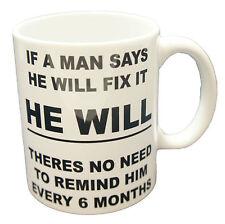 Man Fix It Mug funny novelty Gift Tea Coffee Office Beverage Ceramic lazy cup