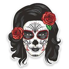 2 X 15 Cm Sugar Skull pegatina de vinilo calcomanía Mexicana Español Día De Los Muertos # 9328