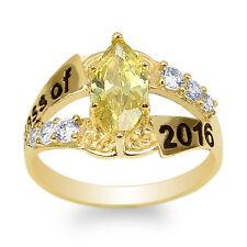 JamesJenny 10K Yellow Gold 2016 Graduation Ring Marquise Citrine CZ Size 4-9