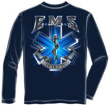 EMS EMT Paramedic Logo Long Sleeve T Shirt Emergency Medical Services Tee S-3XL