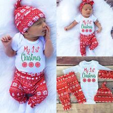 4PCS Newborn Baby Boy Girl Romper Jumpsuit+Pants+Hat+Headband Cotton Clothes Set