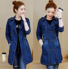 New Women Cowboy Denim Jacket Long Sleeve Coat Jeans Long Outerwear Trench M-5XL