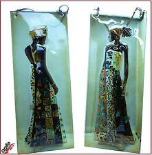 2 x Dekorative Wandreliefs Relief - Glasbilder aus Glas Afrikanischen Frauen Neu