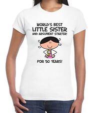 World Best Little Sister Women's 50th Birthday Present T-Shirt - Gift