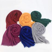 Cotton Linen Crinkle Cloud Hijab Scarf Shawl Soft Islam Muslim 180x95cm