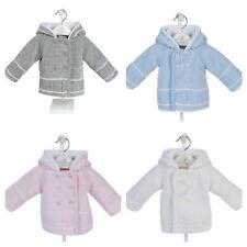 Baby Boys Spanish Style Blue White Cotton Lined Knitted Pram Jacket