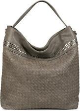 Hobo Bag Handtasche Flecht-Optik, Nieten, Shopper, Schultertasche, Tasche, Damen