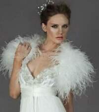 100% Real Ostrich Feather Fur Handmade Shawl Shrug Jacket Vest Wedding bolero