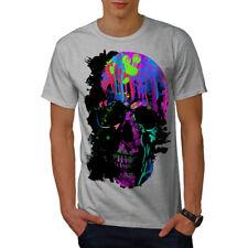 Wellcoda Crâne Artsy T-Shirt homme Néon, nuit design graphique imprimé Tee
