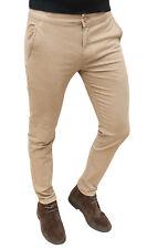 Pantaloni uomo Diamond invernali beige slim fit denim jeans in cotone da 42 a 54