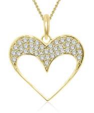 VS1 E 0.80 Ct Natural Diamond Heart Pendant Necklace 14K Solid White Yellow Gold