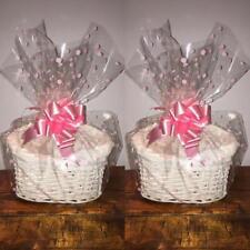 Set 2 small make your own hamper kit white rect /oval basket cellophane bow gift