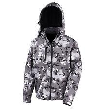 Herren Camouflage Softshelljacke Jacke Kapuze Wasserdicht Atmungsaktiv XS - 3XL