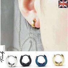 PAIR of Women Men Silver Stainless Steel 14mm Small Round Hoop Sleeper Earrings