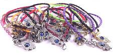 Hamsa Leather Bracelet Evil Eye Amulet Charm Kabbalah Hand Of Fatima Many Colors