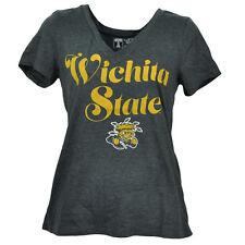 NCAA Wichita State Shockers Charcoal V Neck Tshirt Tee Womens Short Sleeve Sport