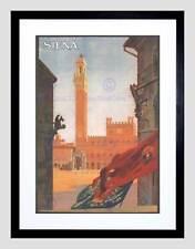 TRAVEL SIENA TORRE DEL MANGIA ITALIA Vintage Pubblicità Framed Art Print b12x1697