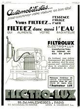 Publicité Ancienne  Voiture Filtrolux - l'Aspirateur-lux  1929   P17  ALMAR