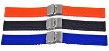 Silikon Uhrenarmband Taucher Armband mit Faltschliesse und Reifen Profil 20-24mm