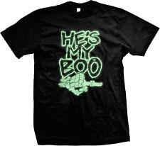 He's My Boo Skeleton Hand Glow In The Dark Halloween Mens T-shirt