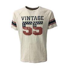 VINTAGE 55 t-shirt uomo ecru mezza manica modello FOOTBALL 55 100% cotone